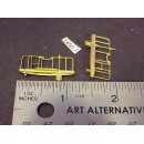 "1450-7 - Caboose end railing assembly, ladders, brake stand, (no wheel), short ladders, 1-1/8W x 1/2"" to top of railing - Pkg. 2"
