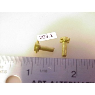 203.1 - Overland brass universal tips,(fits 3mm alum.shaft) 19/64W tits on end - Pkg. 2