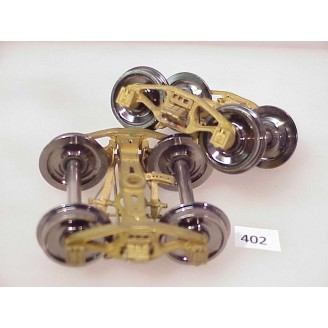 "402 - PRR 2D-F4 leaf-sprung cabin trucks, 5' WB; 33"" whls; sprung, working journal lids, double insulated, full brake details - Pkg. 1 pair"
