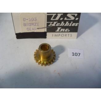O Scale US Hobbies U-103 Steam Locomotive Axle Gear, Brass  #107
