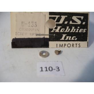 O Scale US Hobbies Steam Locomotive Hardware: Crankpin Screw w/washer #110-3